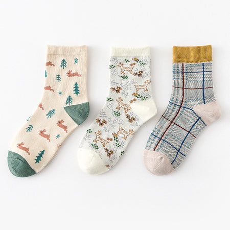 Bunny & Deer Sock Set (Green/Yellow)