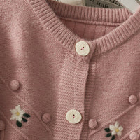 Embroidered Daisy Pom Pom Cardigan (3 Colors)