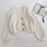 Bubble Cropped Cardigan (3 Colors)