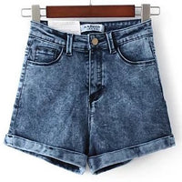 Cuffed High Waist Denim Shorts (6 Colors)