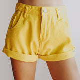 Cuffed High Waist Shorts (2 Colors)