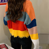 Colorblock Stripe Cropped Sweater (Orange/Blue)