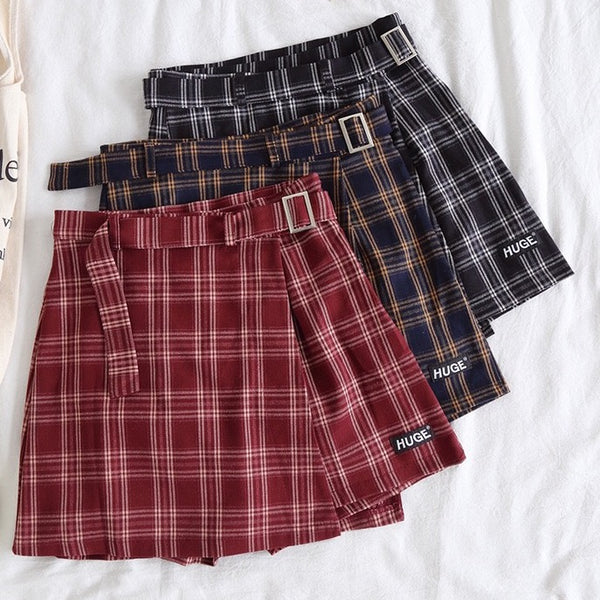 Belted Asymmetrical Plaid Skirt (3 Colors)