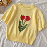 Floral Embroidered Cropped Sweater (4 Colors)