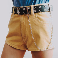 Double Eyelet Belt With Chain (Black)