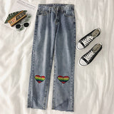 Rainbow Heart Knee Patch Jeans (Blue)