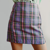 Double Slit Plaid Skirt (Purple)