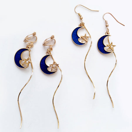 Dangly Moon Earrings (Blue)