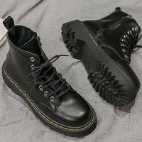 Chunky Lace Up Boots (Black)