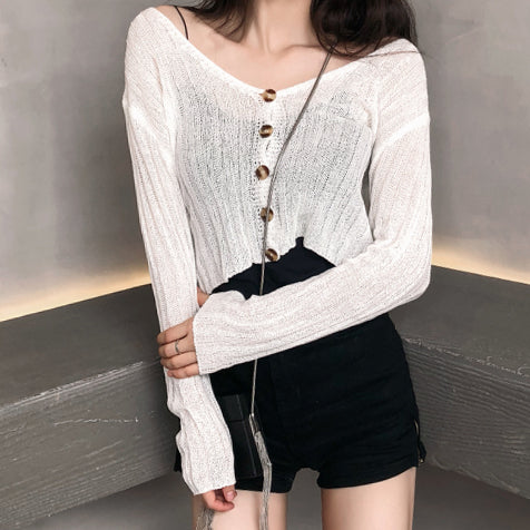 Button Up Cropped Sweater (6 Colors)