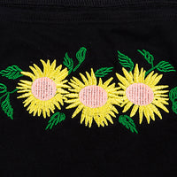 Sunflower Off Shoulder Crop Top (Black)