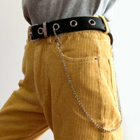 Eyelet Belt with Chain (Black)