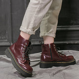 Chunky Lace Up Boots (Dark Cherry)