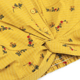 Floral Stripe Twist Hem Shirt (Yellow)