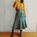 Floral Mermaid Midi Skirt (Teal/Yellow)