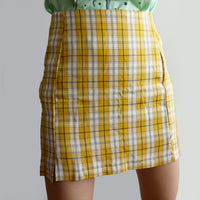 Double Slit Plaid Skirt (Yellow)