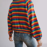 Rainbow Stripe Knit Sweater (Multicolor)