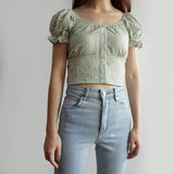 Gingham Puffy Sleeve Crop Top (2 Colors)