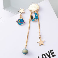 Dangly Moon Planet Earring (Blue)