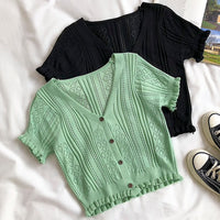 Button Up Frilly Knit Crop Top (3 Colors)
