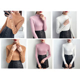 Button Sleeve Mock Neck Sweater (9 Colors)