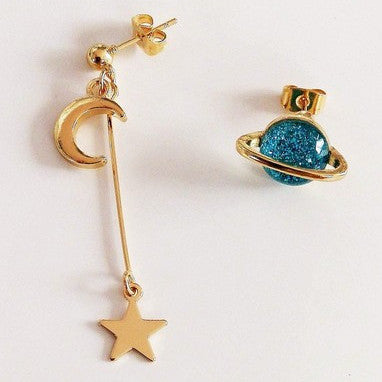 Planetary Drop Earrings (Blue)