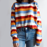 Colorblock Stripe Sweater (Blue/Orange)