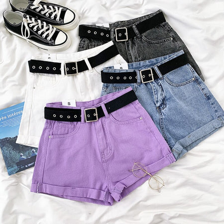 Cuffed High Waist Shorts (4 Colors)