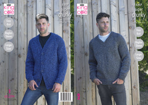 King Cole Pattern 5307: V Neck Cardigan and Sweater
