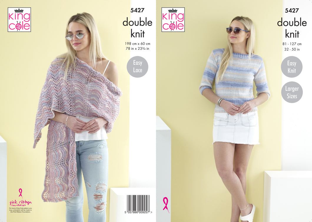 King Cole Pattern 5427: Sweater and Shawl
