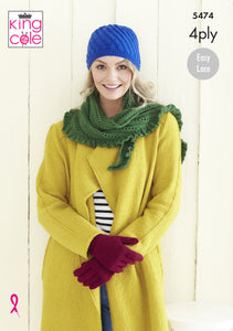 King Cole Pattern 5474: Hat, Gloves and Wrap