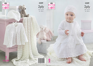 King Cole Pattern 5509: Matinee Jacket, Shawl and Hat