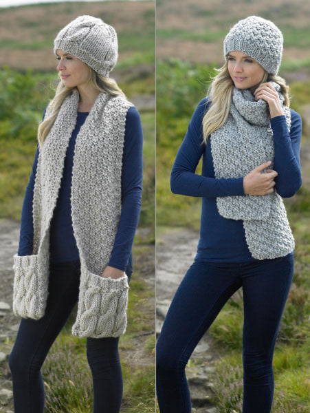 James C Brett Pattern JB215: Hats & scarves Knitted in Super Chunky
