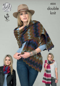King Cole Pattern 4235: Shawls and Snood