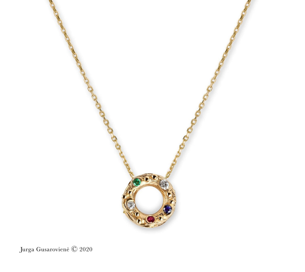 collier mini spring with sapphire emerald ruby diamonds by Jurga Gusaroviene