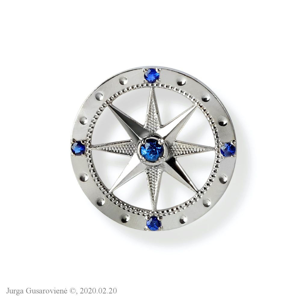 Compass Badge Brooch Mens Jewellery