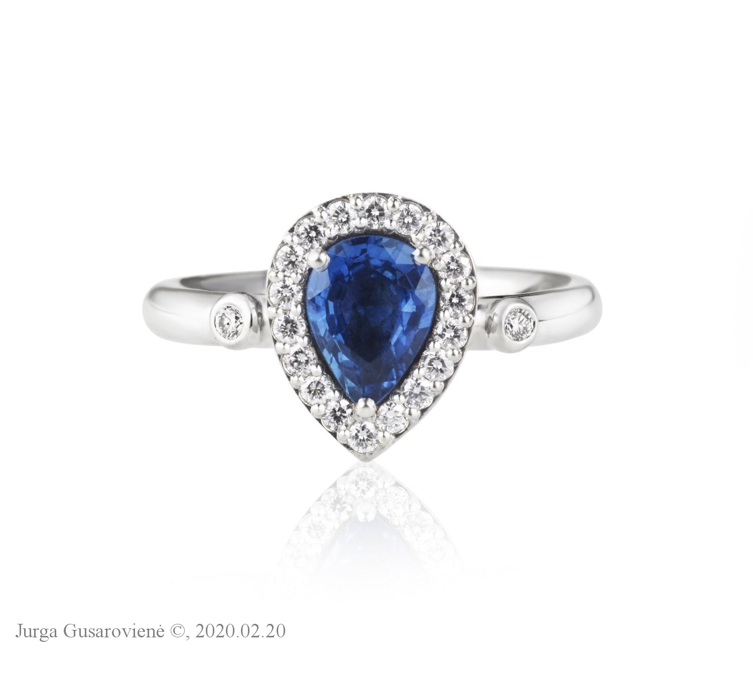 Sapphire Drop With Diamonds