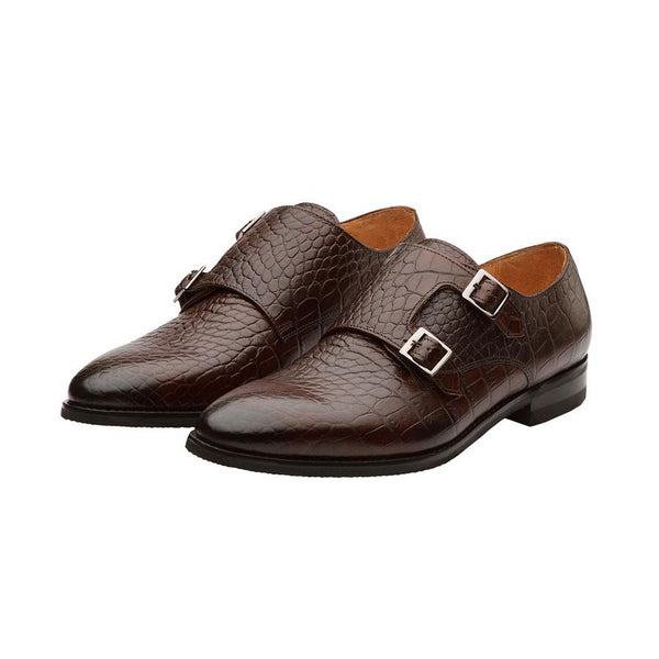 Brown Croco Double Monk Straps
