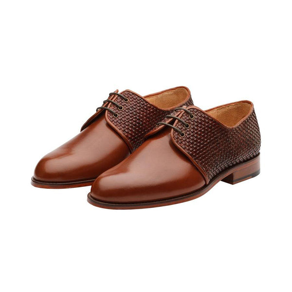 Tan Derby with Braided Detail