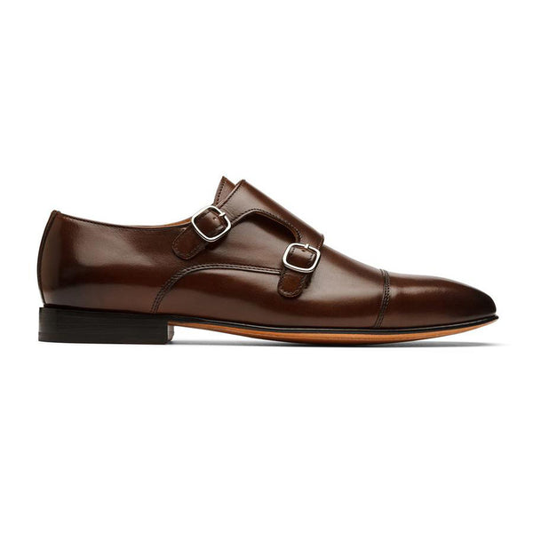 Brown Sleek Captoe Monk Straps