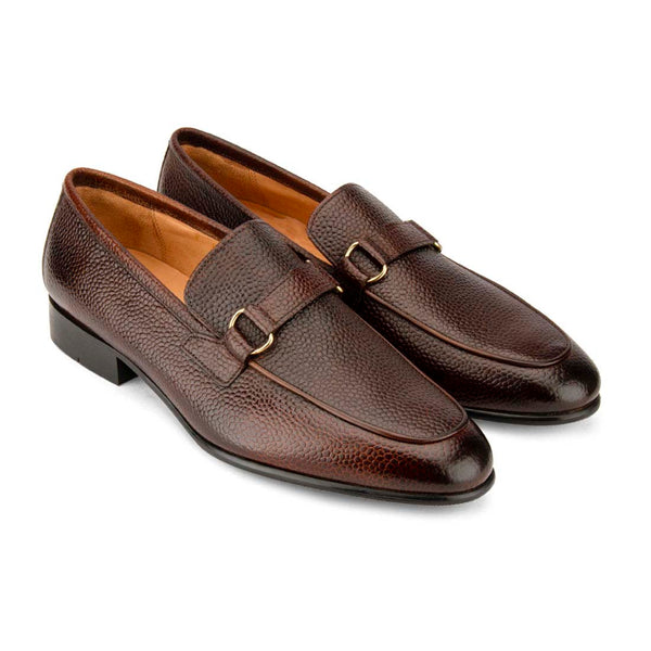 Brown Scotch Grain Buckle Loafers