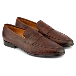 Cognac Pebble Grain Penny Loafers