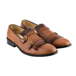 Dark Tan Kiltie Double Strap Loafers