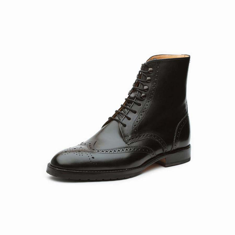 Black Wingtip Derby Boots