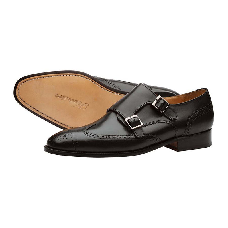 Black Wingtip Monk Strap