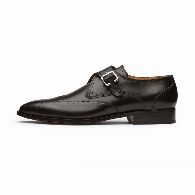 Black Wingtip Single Monk Straps
