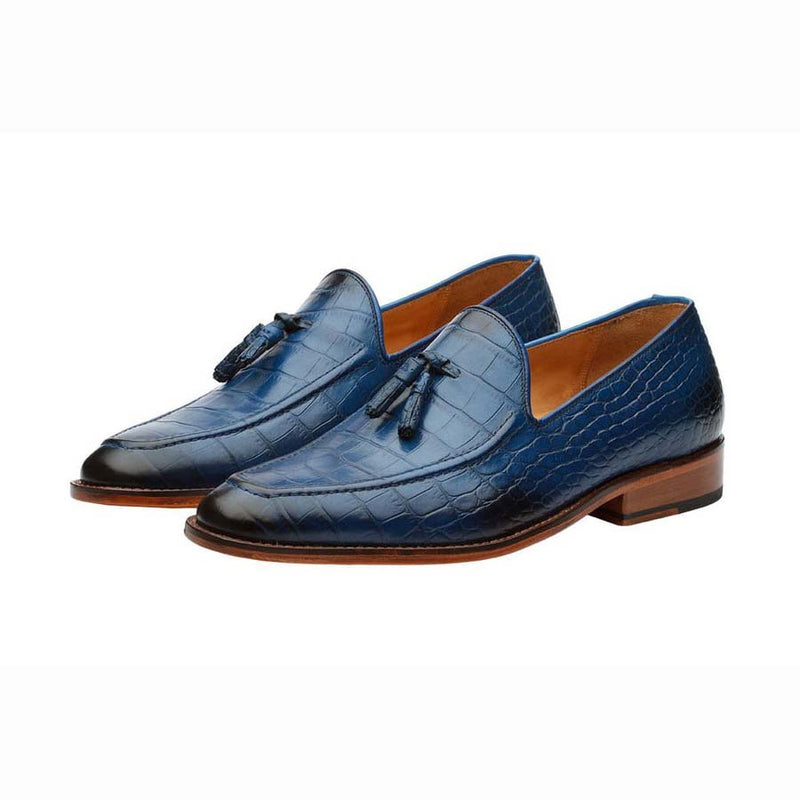 Blue Croco Tassel Loafers