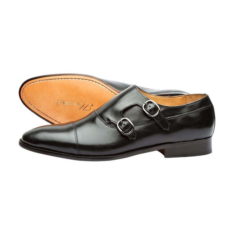 Black Captoe Double Side Monk Strap