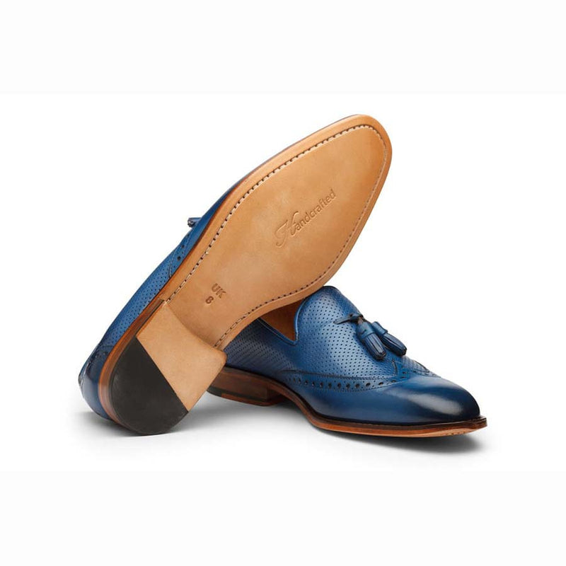 Blue Perforated Tassel Loafers