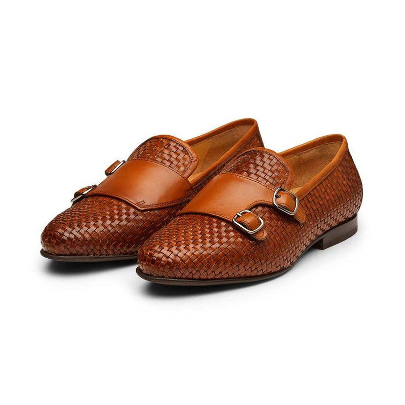 Braided Tan Monk Slipons